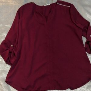 Maroon semi dheer blouse zippered shoulders cl